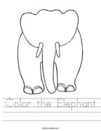 Color the Elephant Handwriting Sheet