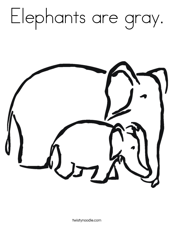 Elephants are gray. Coloring Page