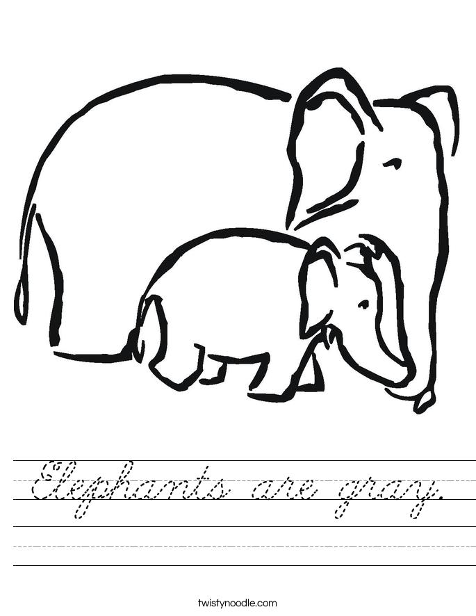 Elephants are gray. Worksheet