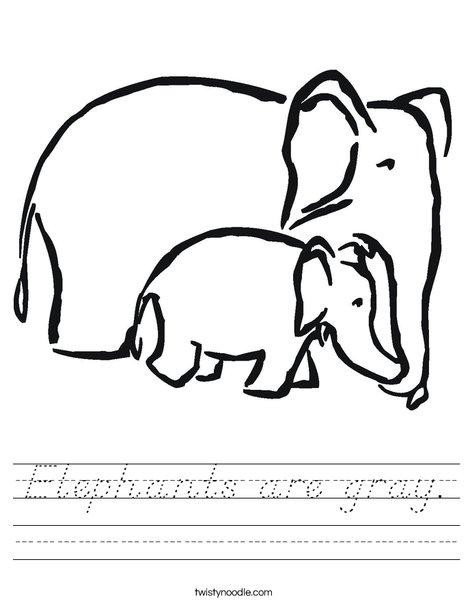 Elephants Worksheet