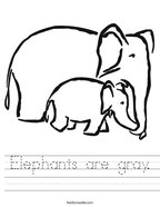 Elephants are gray Handwriting Sheet