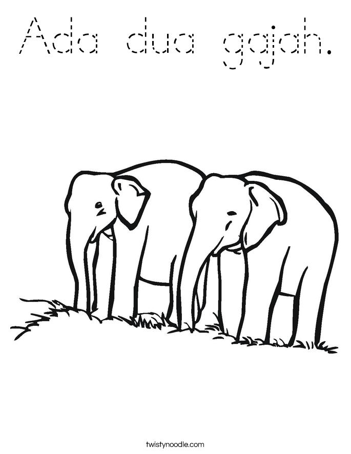 Ada dua gajah. Coloring Page
