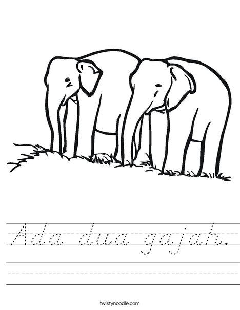 Two Elephants Worksheet