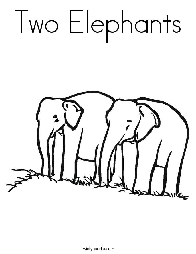 Coloring Book Pages With Elephant : Two elephants coloring page twisty noodle