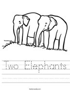 Two Elephants Handwriting Sheet