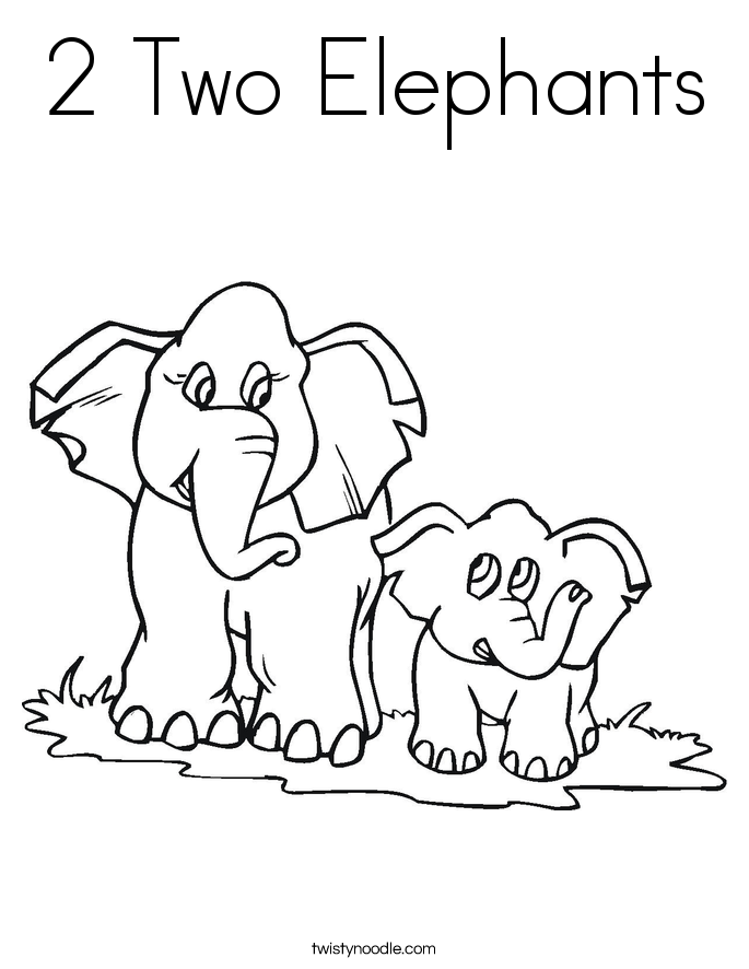 2 Two Elephants Coloring Page