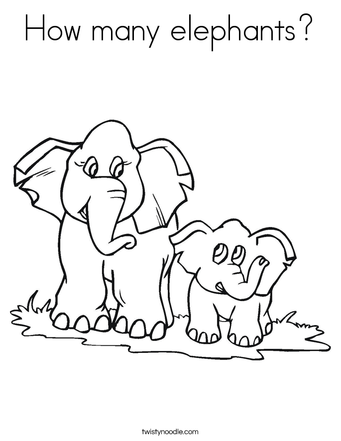 How Many Elephants Coloring Page Twisty Noodle