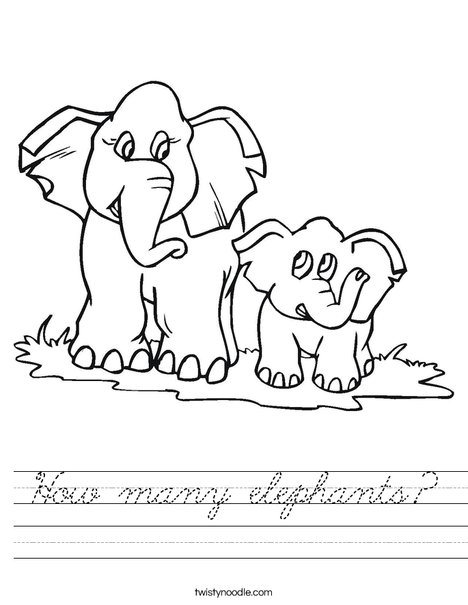 How many elephants? Worksheet