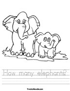 How many elephants Handwriting Sheet
