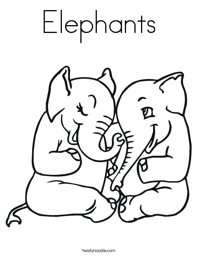 Elephant Coloring Pages Twisty Noodle - coloring page of elephant