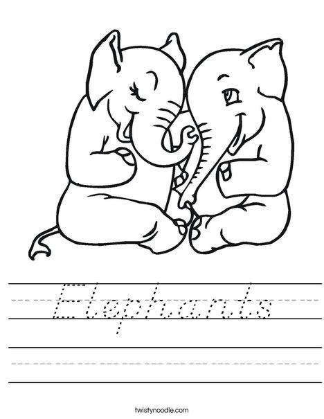 Elephants in Love Worksheet