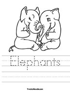 Elephants Handwriting Sheet