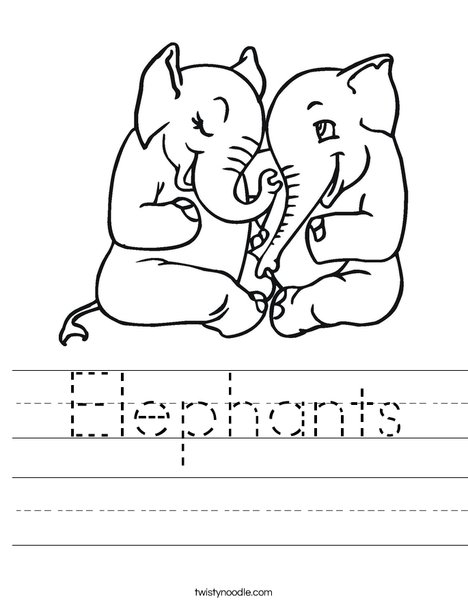 Elephants in Love Worksheet