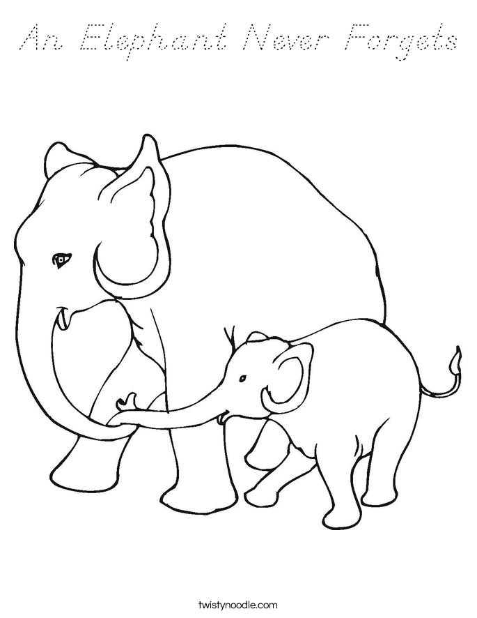 An Elephant Never Forgets Coloring Page