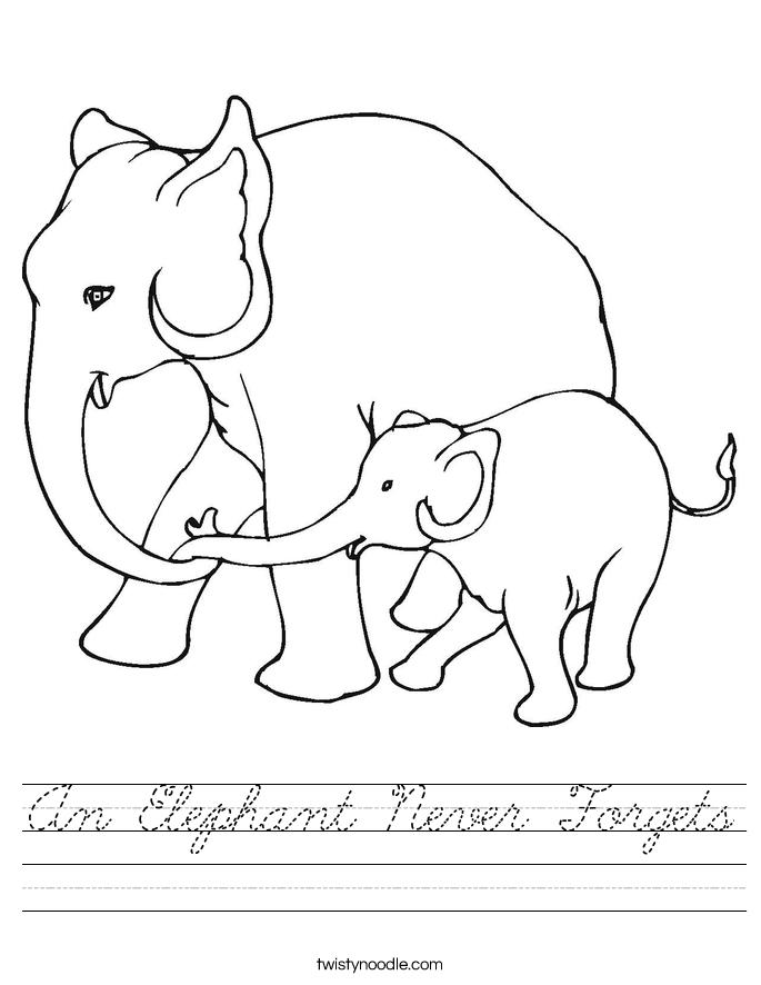 An Elephant Never Forgets Worksheet