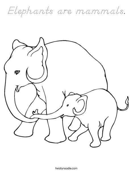 Elephants are mammals. Coloring Page
