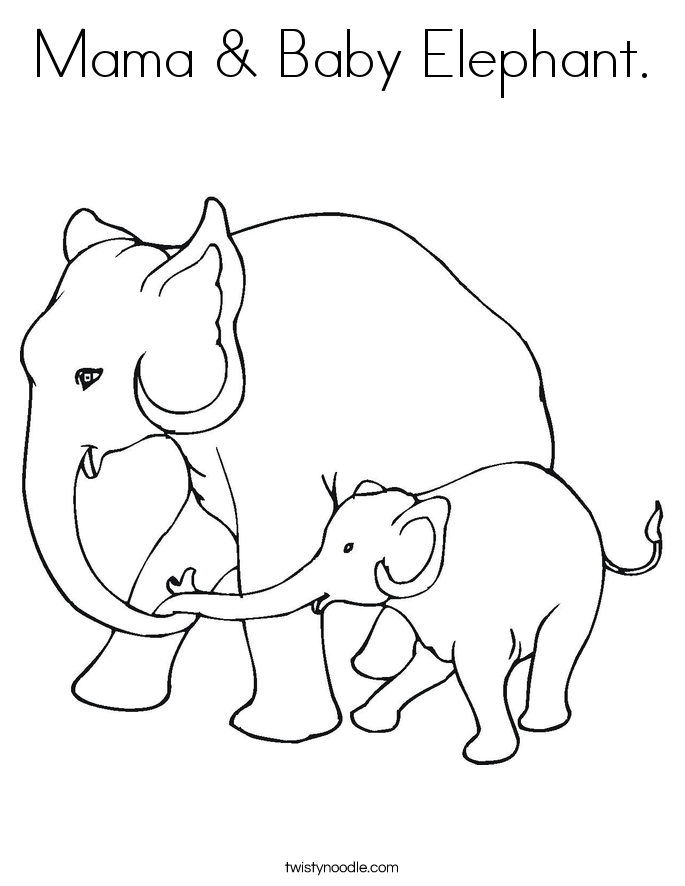 Mama & Baby Elephant. Coloring Page