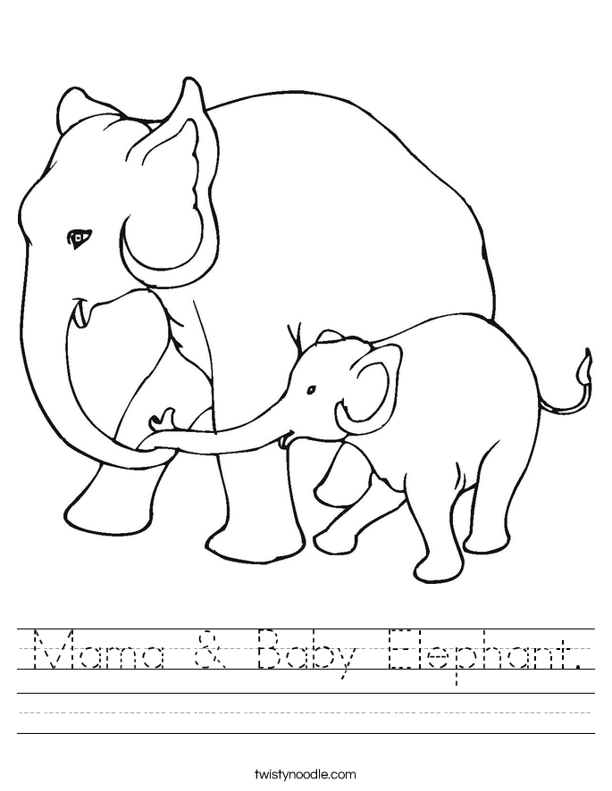 Mama & Baby Elephant. Worksheet