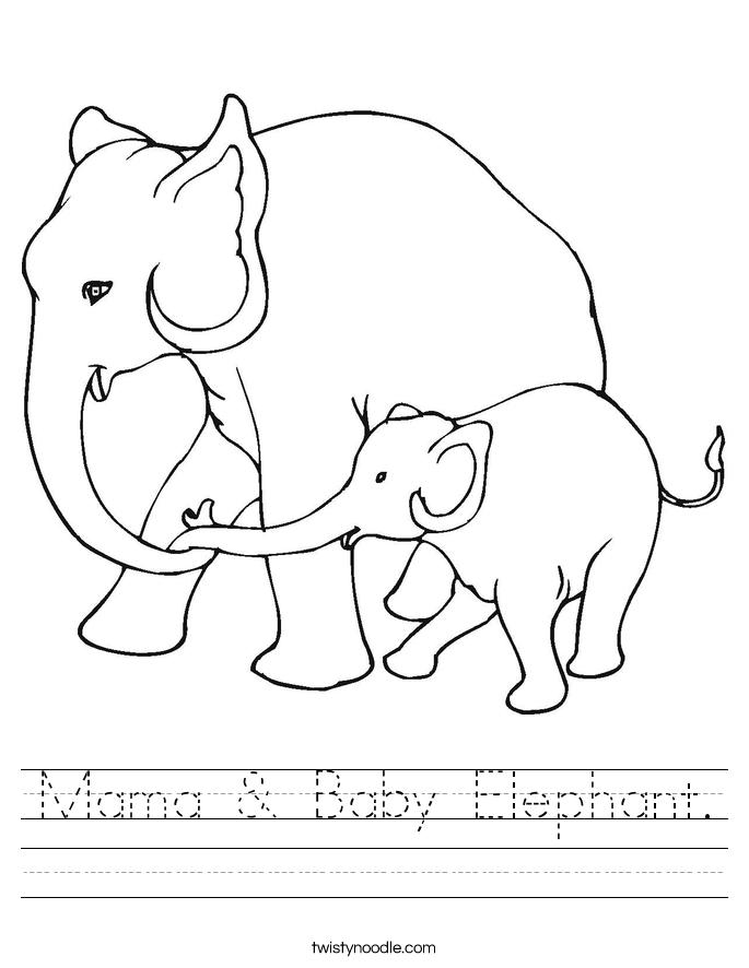 Mama & Baby Elephant Worksheet - Twisty Noodle