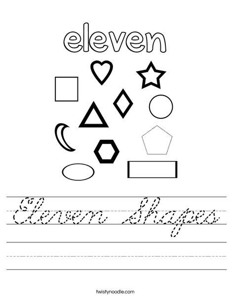 Eleven Shapes Worksheet