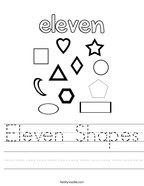 Eleven Shapes Handwriting Sheet