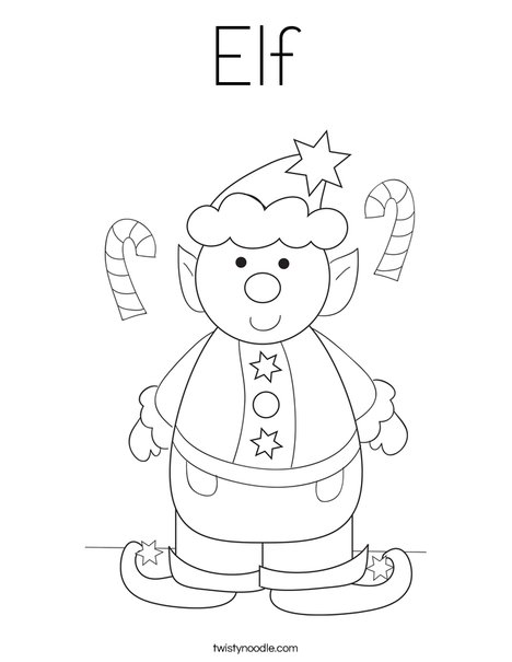 Elf Coloring Page  Twisty Noodle