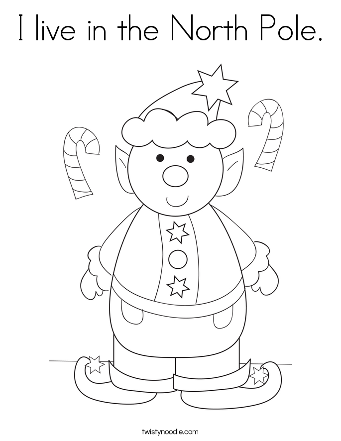 I live in the North Pole. Coloring Page