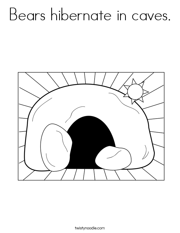 Bears hibernate in caves. Coloring Page