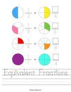 Equivalent Fractions Handwriting Sheet