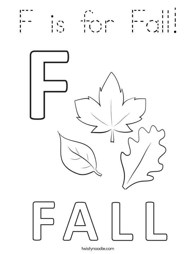 F is for Fall Coloring Page Tracing