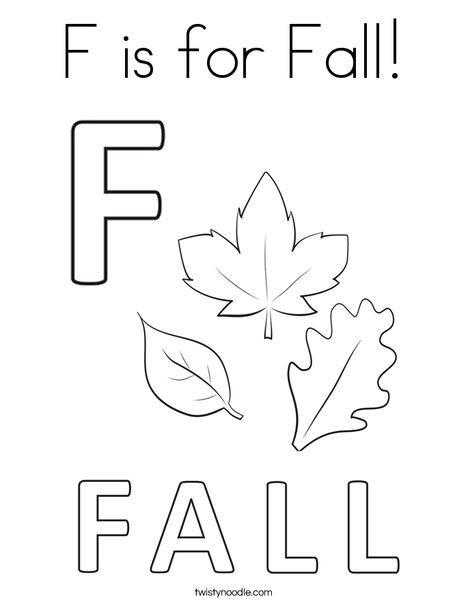 F is for Fall Coloring Page - Twisty Noodle