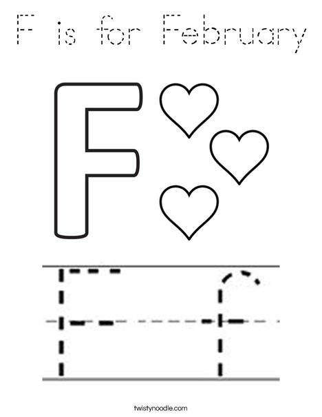 F is for February Coloring Page
