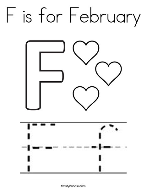 F is for February Coloring Page - Twisty Noodle