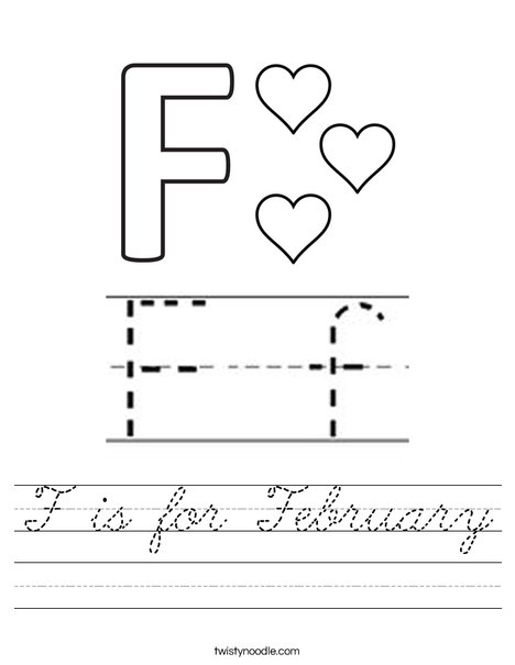 F is for February Worksheet