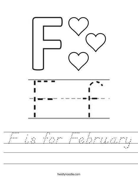 F is for February Worksheet