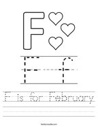 F is for February Handwriting Sheet