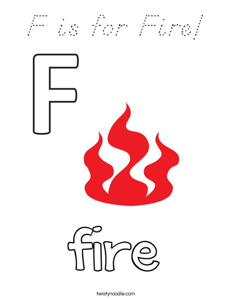 F is for Fire Coloring Page