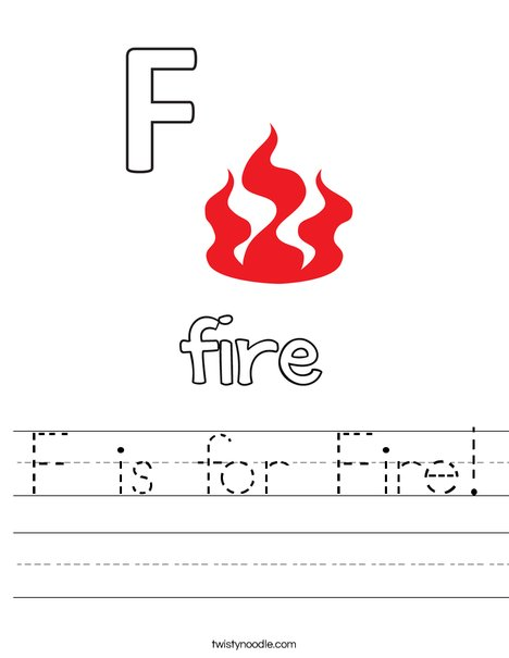 F is for Fire Worksheet