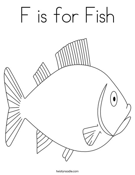 F Is For Fish Coloring Page Twisty Noodle