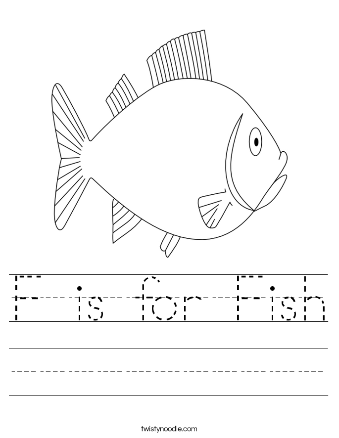 F is for Fish Worksheet - Twisty Noodle