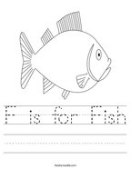 F is for Fish Handwriting Sheet
