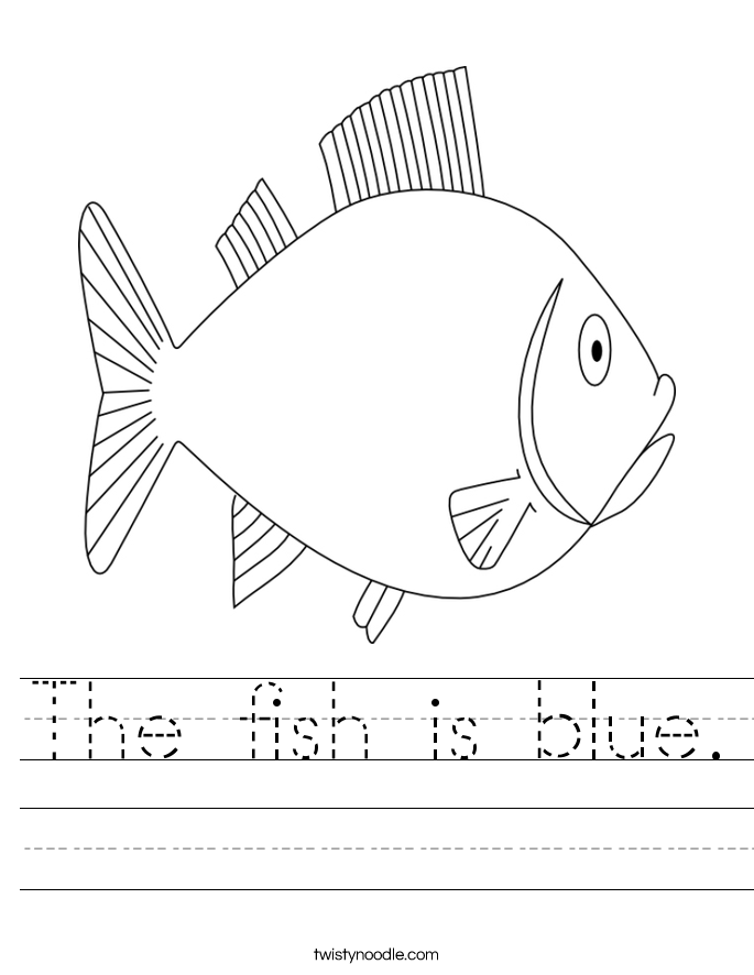 F Is For Fish Worksheet The fish is blue Works...