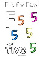F is for Five Coloring Page