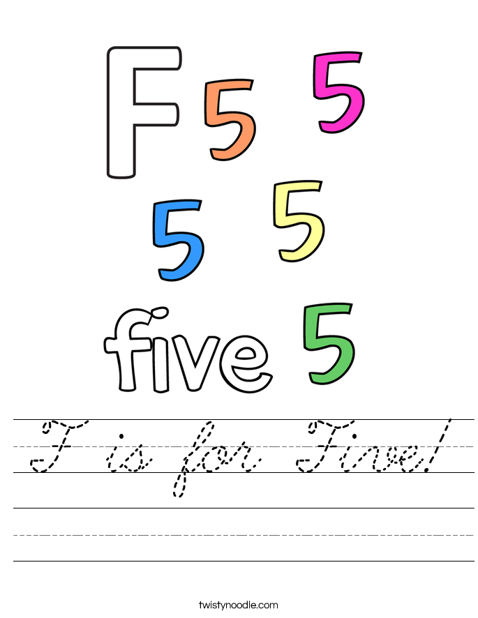 F is for Five! Worksheet