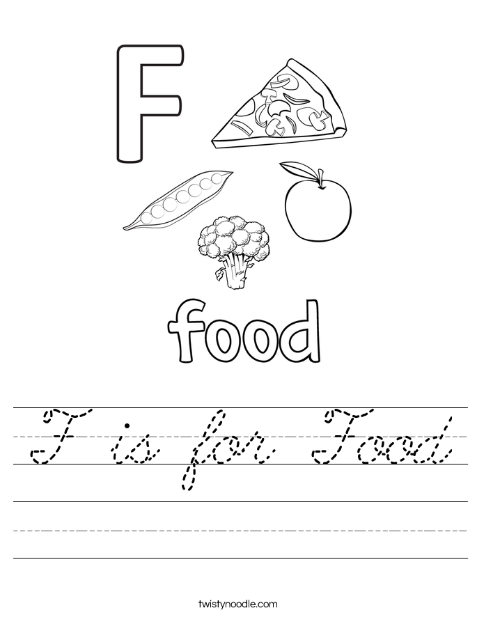 F is for Food Worksheet Cursive