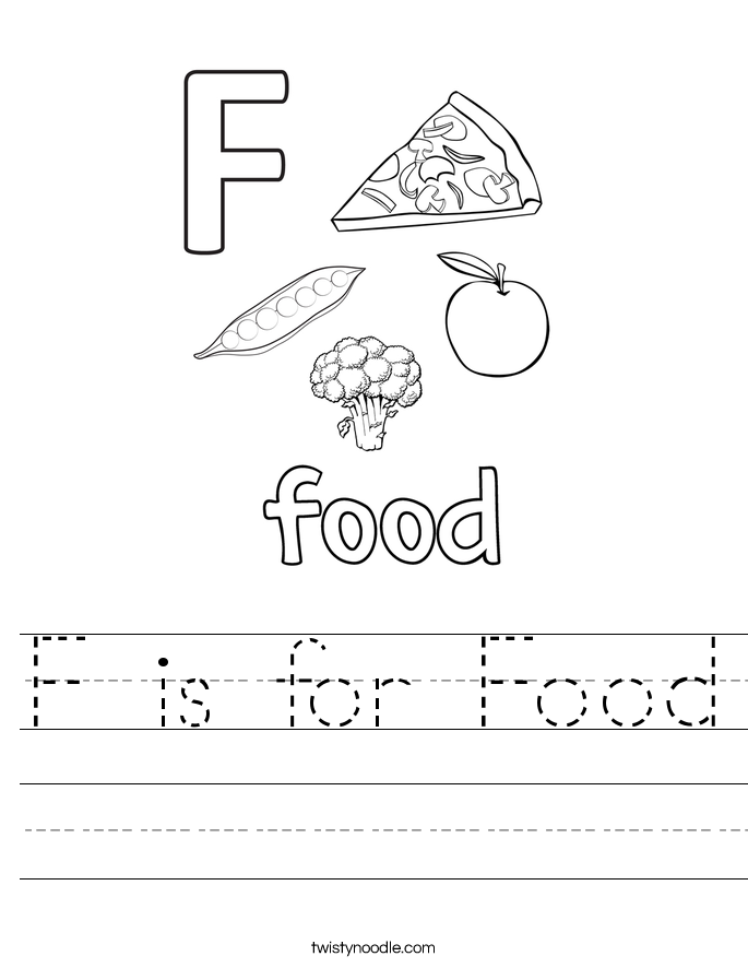 F is for Food Worksheet