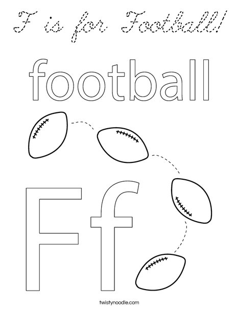 F is for Football Coloring Page