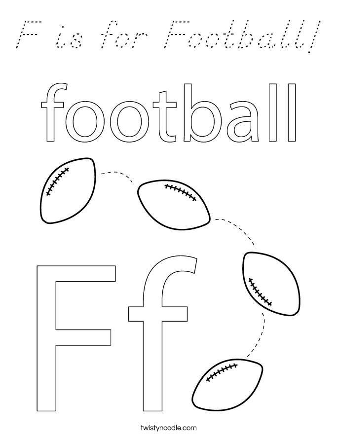 F is for Football! Coloring Page
