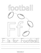 F is for Football Handwriting Sheet
