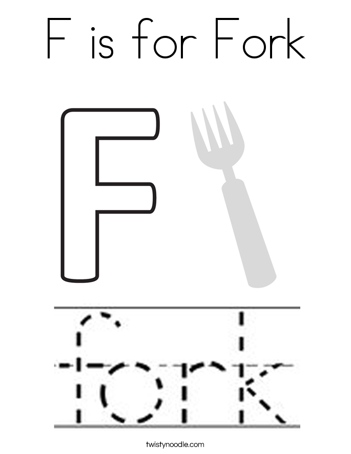 F is for Fork Coloring Page